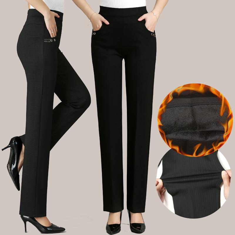 中老年妈妈裤子2019新款冬季厚老年人直筒宽松紧腰外穿中年女裤