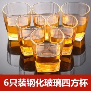 家用创意钢化玻璃啤酒杯 洋酒杯白酒杯一口杯 威士忌四方杯