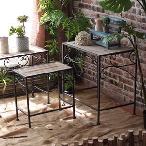 觅点 铁艺花架桌子三层组合操作台阳台店铺橱窗装饰陈列空间法式
