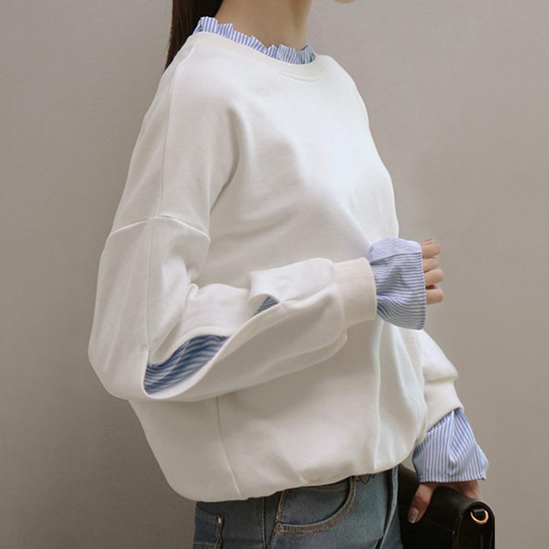 2017秋季新款假两件卫衣女薄款学生套头长袖T恤上