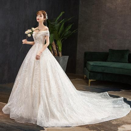 轻主婚纱2021新款胖mm新娘高腰遮肚子一字肩齐地大码孕妇拖尾法式