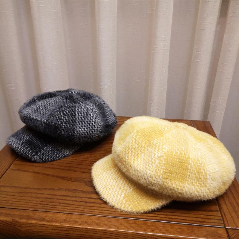 Hat female autumn winter British wool soft comfortable octagonal hat Korean Japanese art versatile Beret