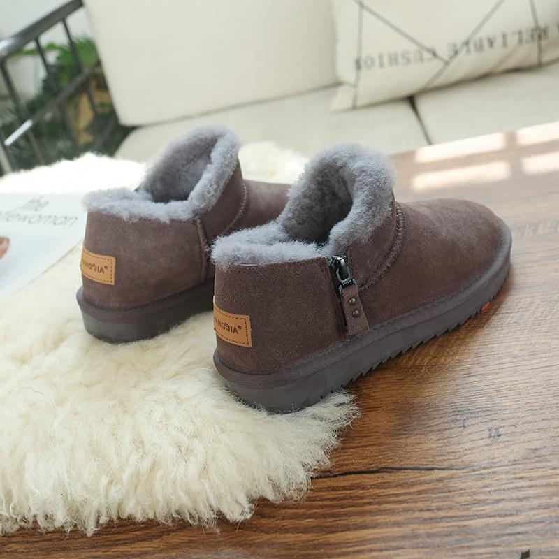 Winter fur integrated snow boots womens short tube Plush low top 2020 new slim zipper anti slip warm cotton shoes