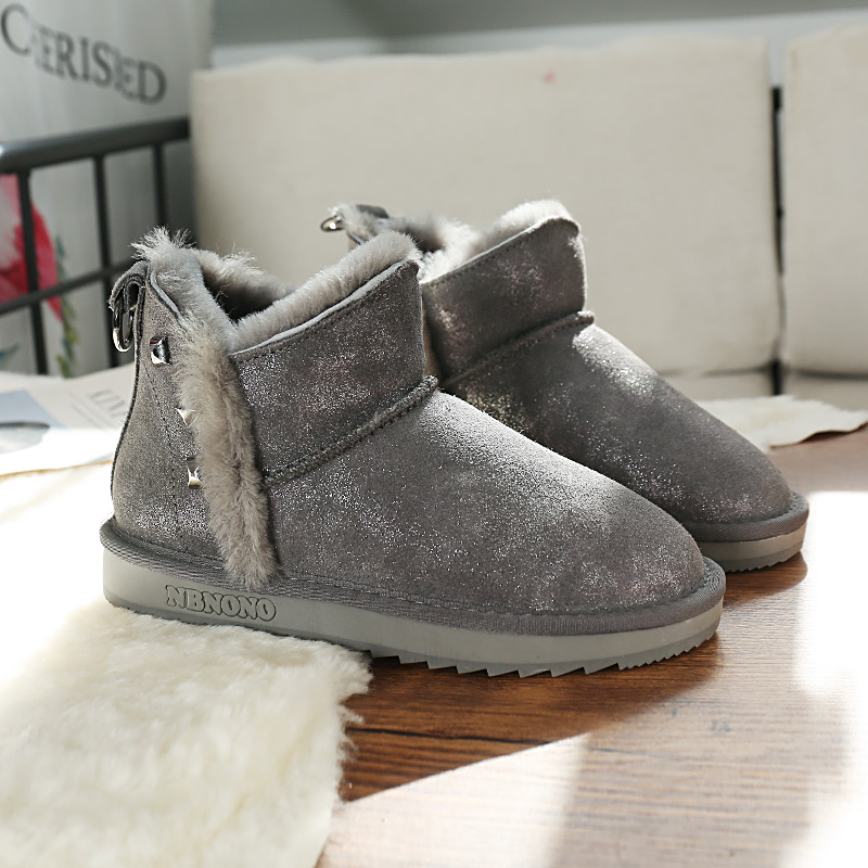 Winter snow boots fur integrated short tube Plush thickened womens 2020 new waterproof wool cotton shoes short boots