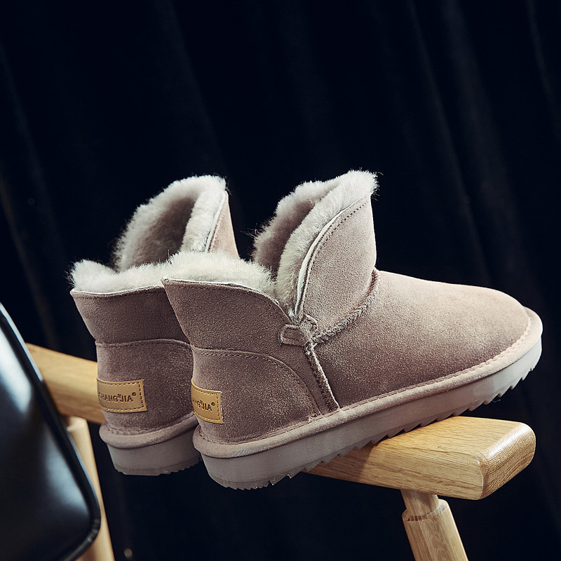 2020 new fashion wool snow boots womens short boots winter fur one flat bottomed cotton shoes short tube warm bread shoes