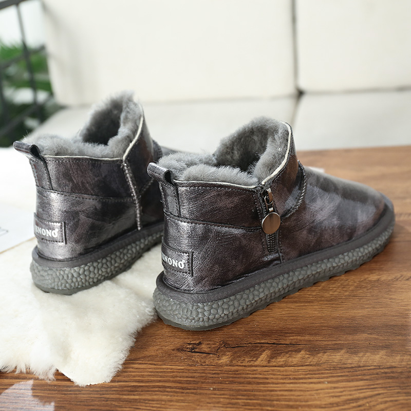 2020 new snow boots womens short tube leather surface waterproof fur integrated short boots winter thickened warm wool cotton shoes