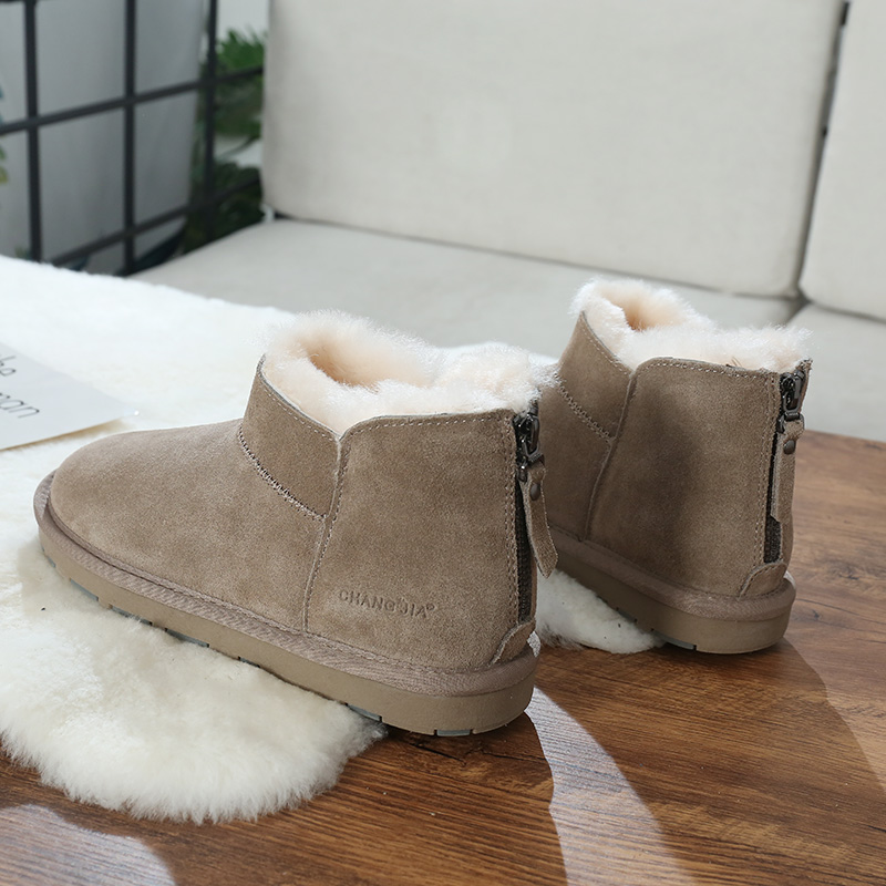 Cowhide back zipper snow boots womens 2020 new winter short tube warm Plush wool short boots thickened cotton shoes