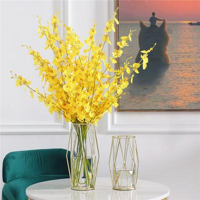 ins风北欧水培透明玻璃铁艺花瓶轻奢餐桌客厅仿真假花插鲜花摆件