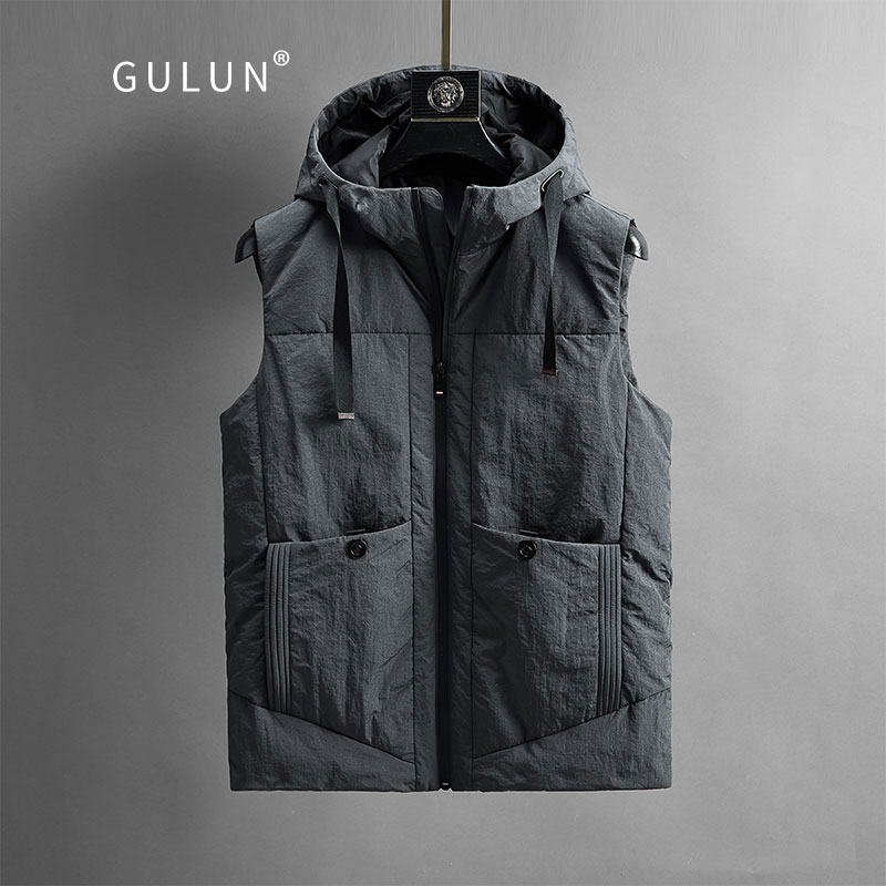 Down vest men's autumn and winter hooded down vest lightweight warm shoulder men's winter sleeveless down jacket men