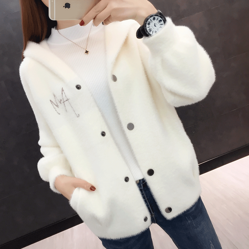 2020 new spring clothing imitation mink sweater knitted cardigan womens top short hooded mink coat womens Korean version