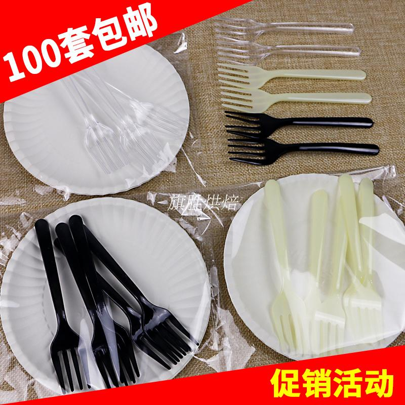 Cake, cutlery, fork set, plastic, one-off creativity, four in one fork plate, birthday party, four teeth fork, spoon plate combination