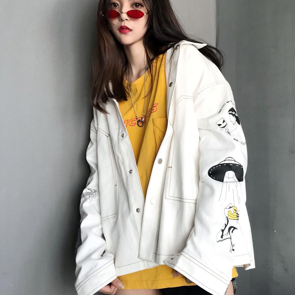 AR潮流部落 寻找流浪猫涂鸦白色夹克 休闲宽松春秋外套男女情侣款