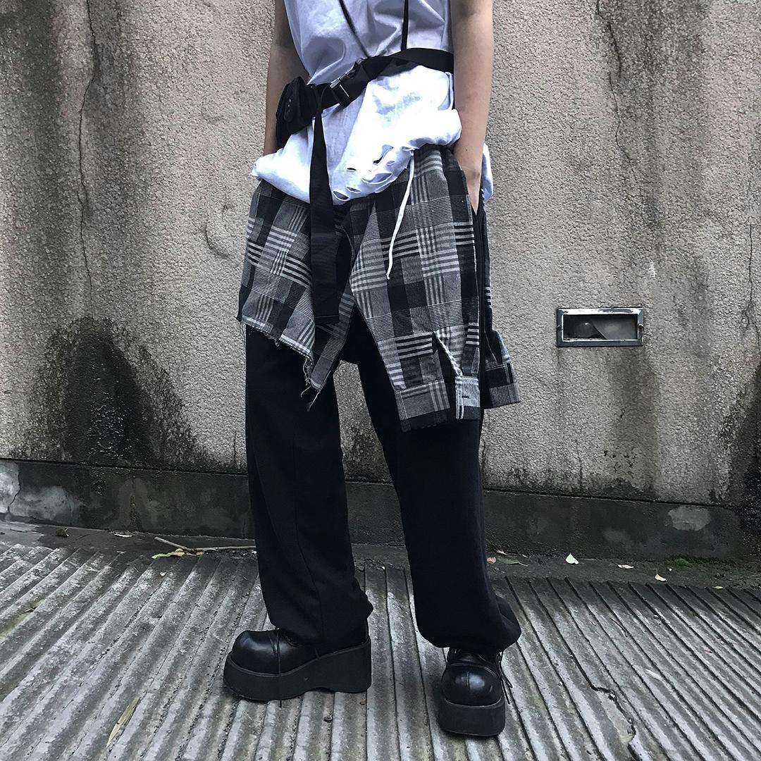 Codazzreet格子下摆飘带假两件束脚裤男女休闲裤宽松嘻哈长裤春秋