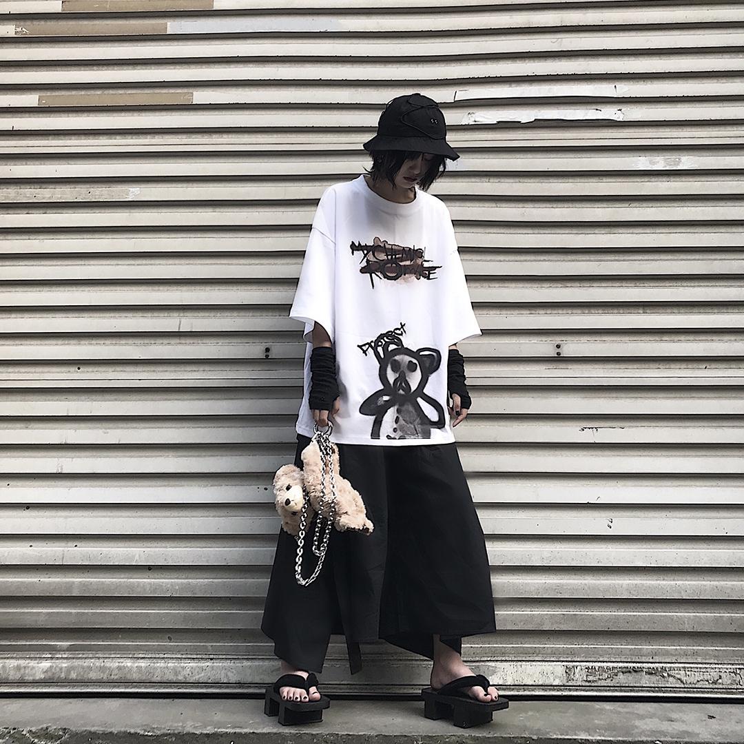 Codazzreet 潮牌街头暗黑风涂鸦暴力小熊T恤男女丧系半袖嘻哈短袖