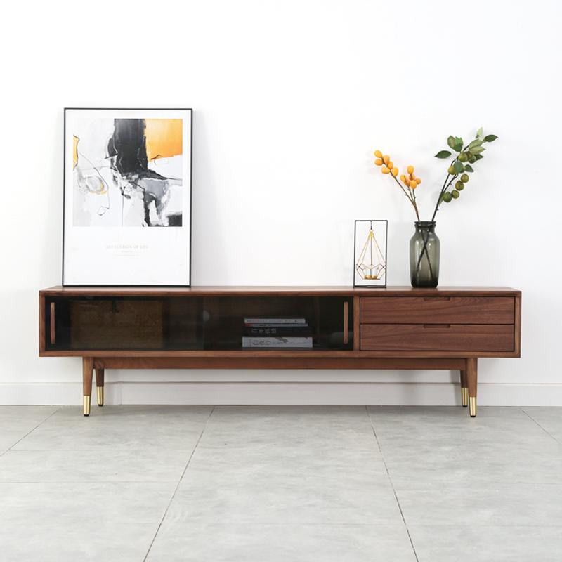黑胡桃木电视柜现代简约小户型日式朴素实木白橡木作长虹玻璃地柜