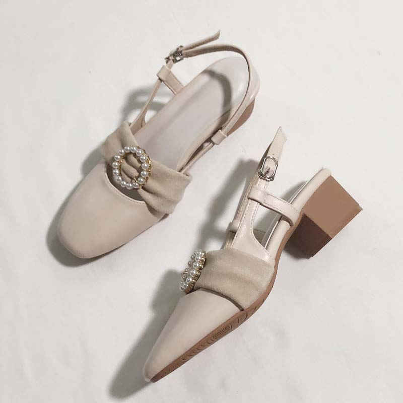 Thick heel sandals fairy style French pearl girl Mary Jane medium heel shoes with skirt buntou evening high heels