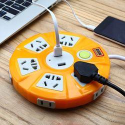 多用智能usb插座面板多孔不带线万能插板圆盘转换器多功能排插