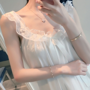 睡衣女夏季纯棉睡裙薄款吊带裙甜美性感蕾丝公主家居服带胸垫睡裙