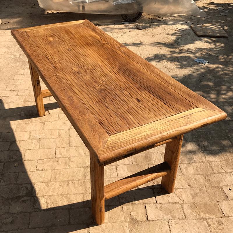 老榆木门板桌老门板茶桌民宿复古实木餐桌禅意桌老榆木风化桌凳