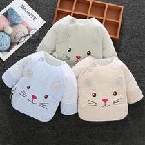 新生儿半背衣0-3个月宝宝和尚服夹棉上衣初生婴儿衣服秋冬季保暖