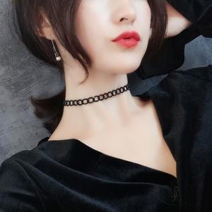 日韩颈链网红性感黑色choker颈带chic蕾丝项链锁骨链女天然尖晶石