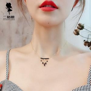 天然尖晶石欧洲站锁骨链仙气质欧美14K包金脖链网红流苏项链短款