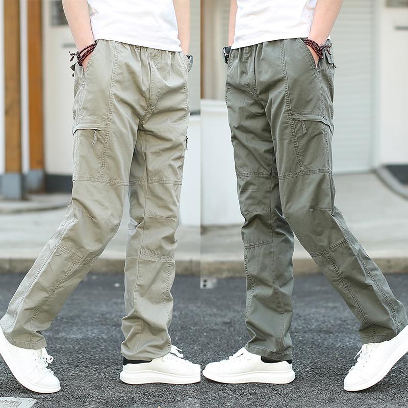 秋季青年运动裤男士户外宽松大码休闲工装裤男多口袋直筒长裤子潮