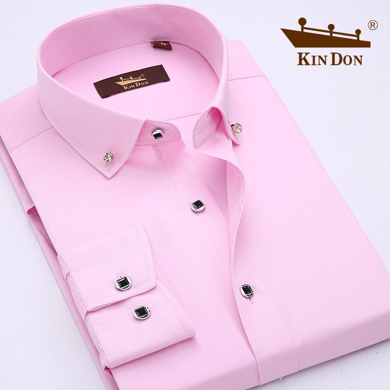 10-17新券金盾男装商务休闲衬衫韩版修身新郎结婚衬衫粉色长袖衬衣免烫寸衫