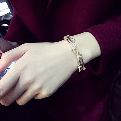 Gorgeous years interwoven with crystal pearl European and American Korean simple personality sweet jewelry bracelet bracelet woman