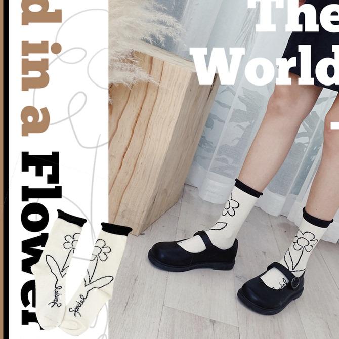 ins韩系文艺手绘风花朵卷边小花袜子女中筒袜日系少女纯棉堆堆袜