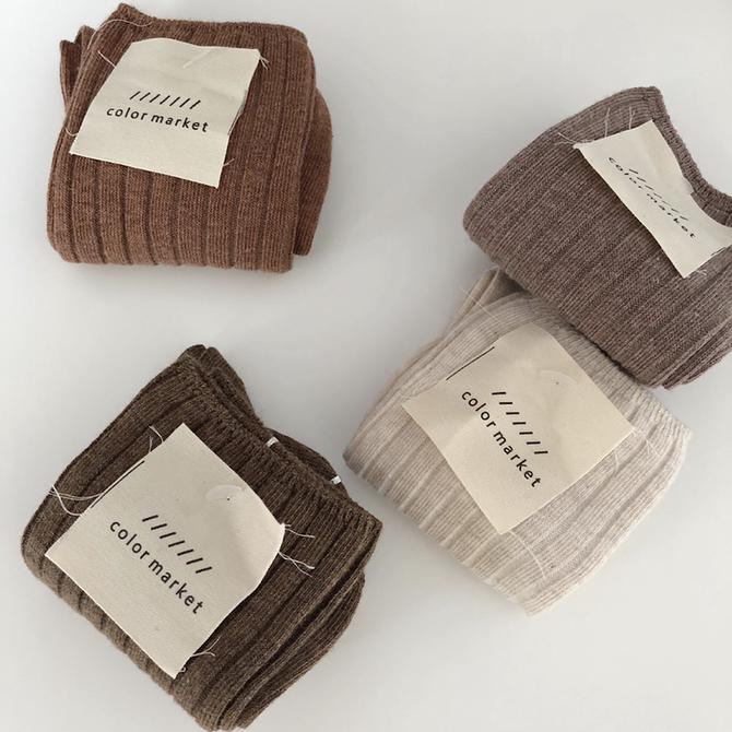 复古色纺纱系列双针女袜中筒袜螺口竖条纹堆堆袜 9色