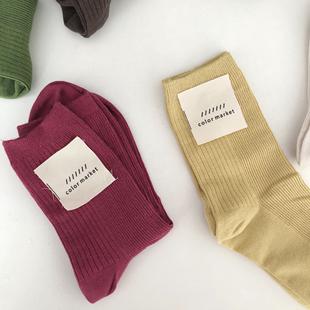 韩国堆堆袜袜子女双针粗细相间竖条纹纯棉纯色设计感抽条女袜