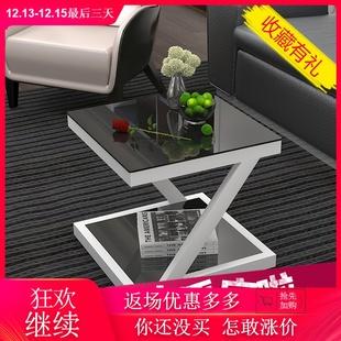 简约现代边几钢化玻璃铁艺小茶几迷你小方桌客厅边桌沙发边角几价格