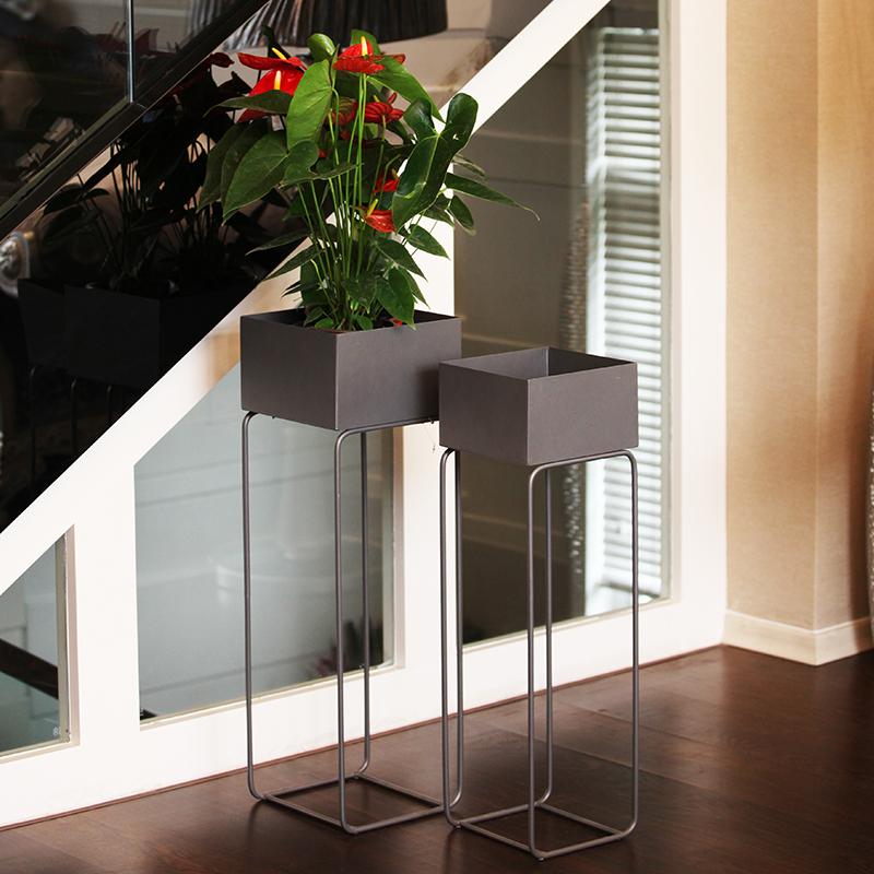 北欧风现代简约铁艺花盆架子客厅落地园艺绿萝兰花店铺装饰花架