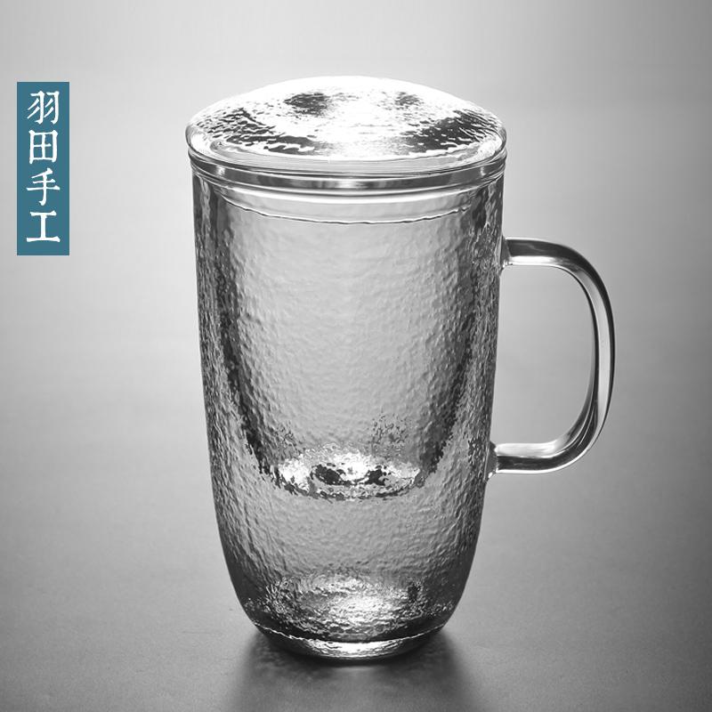 羽田 砂�[�N�y玻璃杯�k公室茶水分�x�н^�V茶漏泡茶杯三件套茶杯