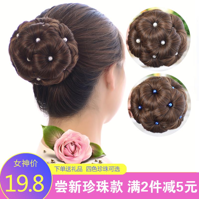 升级版珍珠抓夹花苞头假发丸子头发夹九朵花隐形自然发包盘发器