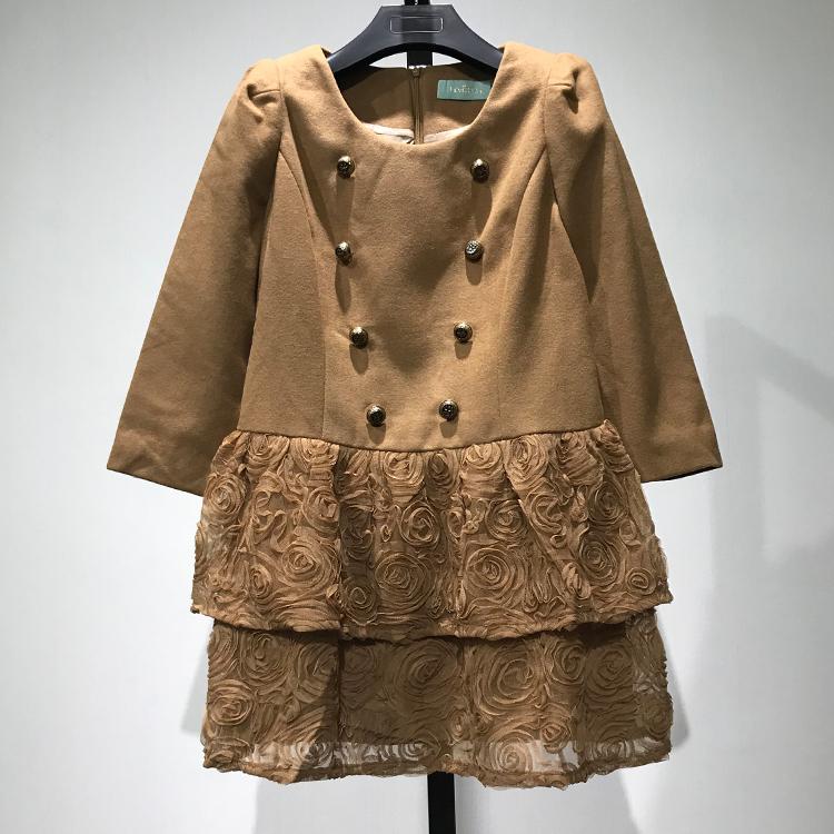 衣本折扣【灵】高挡品牌女装专柜正品立体花拼接宽松连衣裙