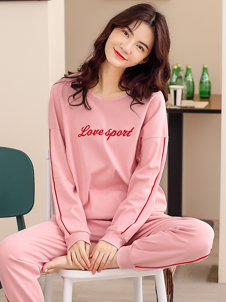 Autumn and Winter Youth Womens cotton loose pajamas long sleeve elastic binding feet home clothes set can be worn out combed cotton