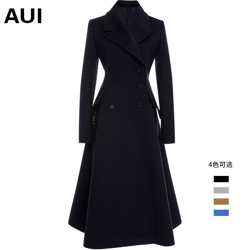 中长款毛呢外套女秋冬2020新款气质女装黑色修身羊毛西装呢子大衣