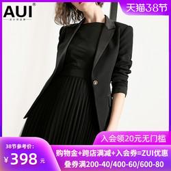 aui欧货黑色西装上衣2021早秋新款欧美女装欧洲站小西服外套女潮