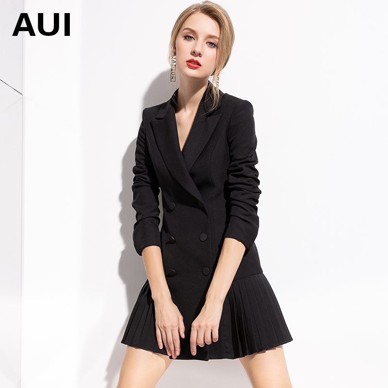 European fashion formal suit coat women 2019 new professional women's Black Medium Length suit top