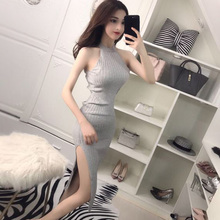 2018 new sexy nightclub autumn and winter women's off-the-shoulder Slim waist hanging neck ladies ladies bag hip dress