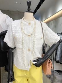 韩国东大门2020夏季新款时尚圆领纽扣小香风短袖针织开衫女上衣潮