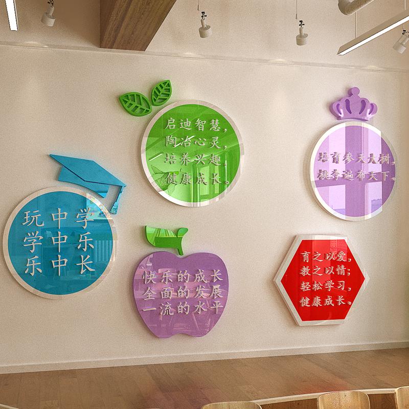 幼儿园托管班3d立体墙贴环创材料大厅教室墙面装饰环境布置文化墙