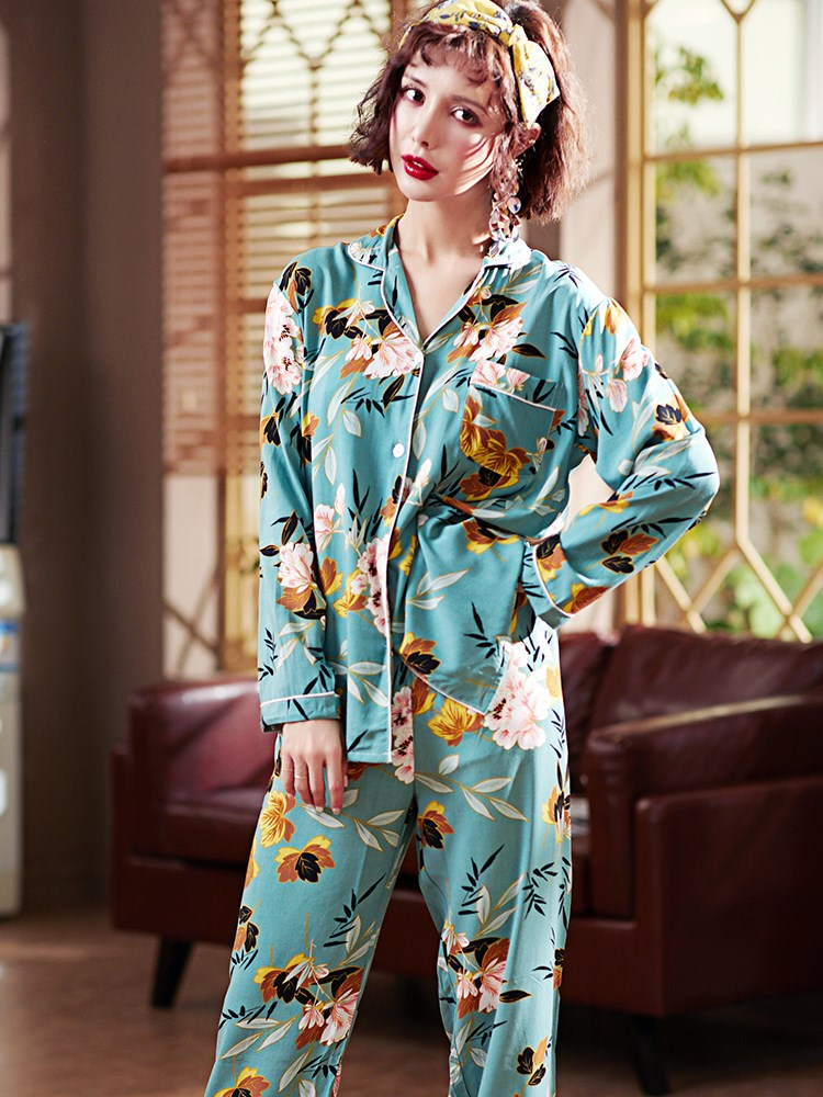 睡衣女夏季薄款长袖棉绸两件套装开衫韩版大码女士绵绸休闲家居服
