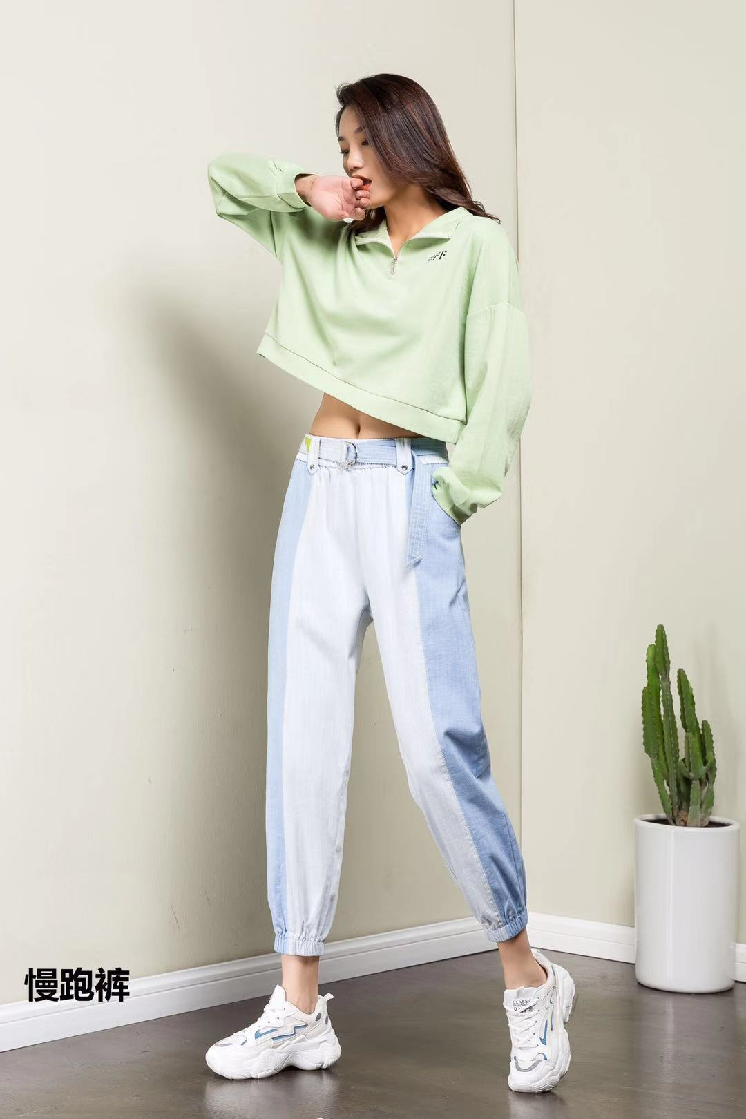 2020 new spring and summer jogging jeans womens cotton and hemp casual Harun students loose and slim cropped pants