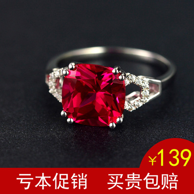 Pigeon blood ruby ring female 925 sterling silver plated 18K gold Thai tourmaline garnet color high-end fashion authentic