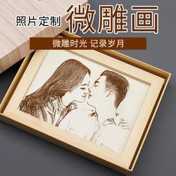 定制照片木刻画送男女朋友闺蜜创意相框DIY手工自制女生实用私人
