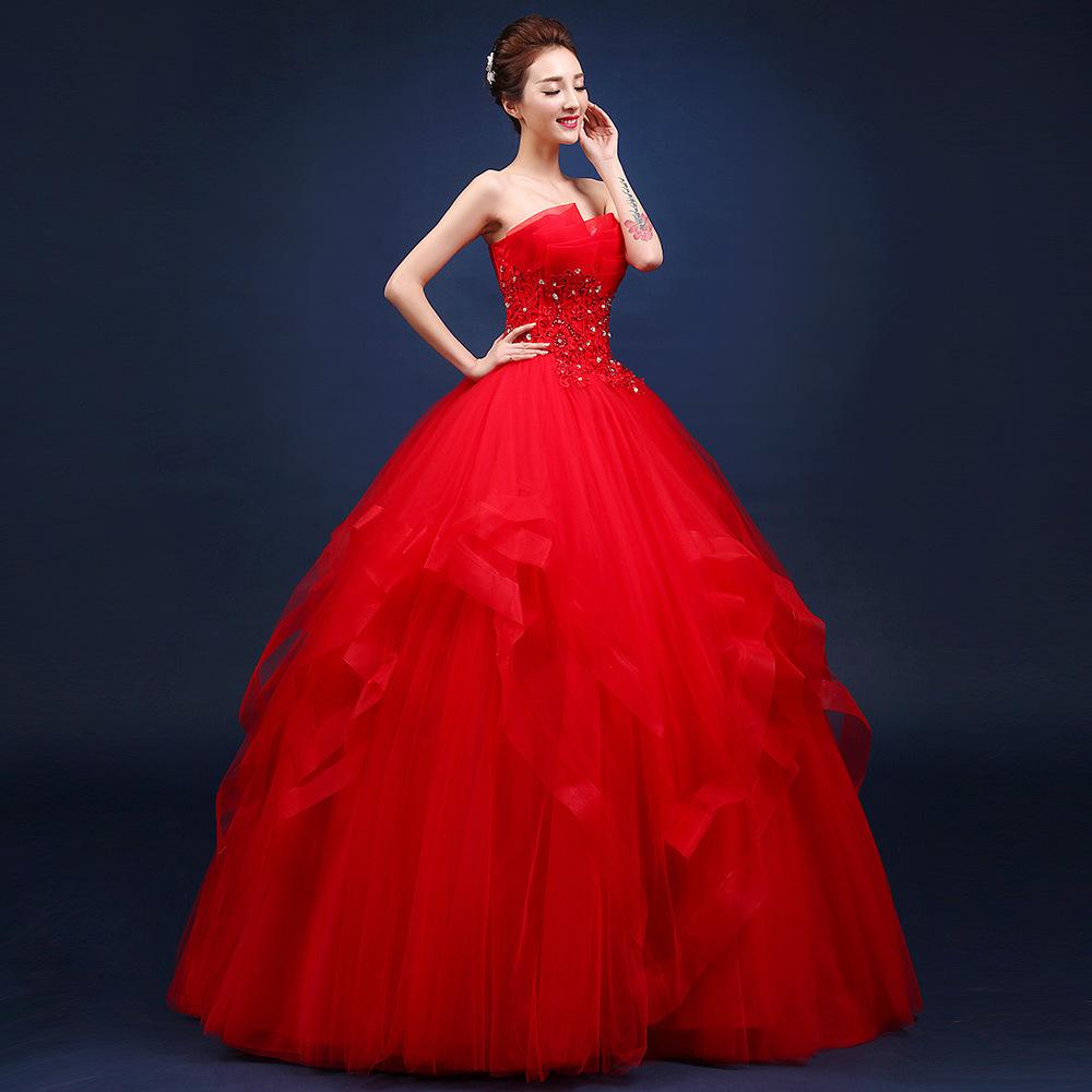 婚纱礼服2019新款秋季新娘结婚抹胸修身长款齐地显瘦韩式蓬蓬裙女