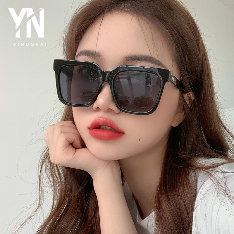 2020新款欧美方框墨镜女潮圆脸复古遮阳太阳镜简约眼镜潮黑色大框